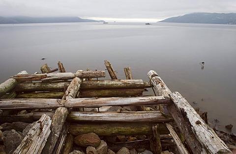 . Ruins of a sea morning. Sea of Okhotsk. Nagaevo bay. Magadan, Eastern Siberia, Russia