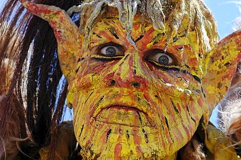 Yellow demon devil mask, portrait, knight festival Kaltenberger Ritterspiele, Kaltenberg, Upper Bavaria, Germany
