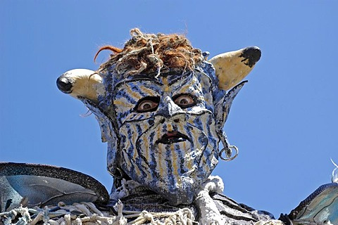 Blue white demon devil mask, portrait, knight festival Kaltenberger Ritterspiele, Kaltenberg, Upper Bavaria, Germany