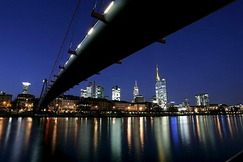 Skyline and river Main at night, Frankfurt, Hesse, Germany