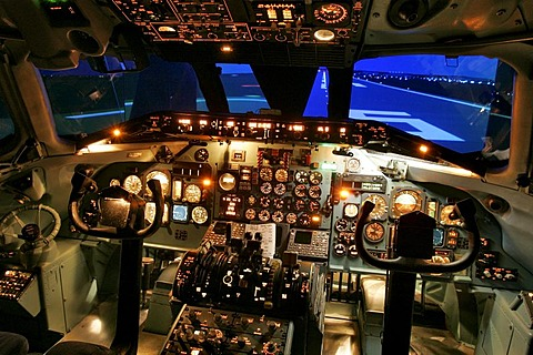 Flight simulator of a McDonnell Douglas MD 80, Sim Zone, Germany.