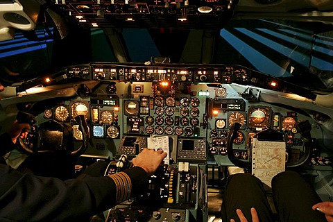 Flight simulator of a McDonnell Douglas MD 80, Sim Zone, Hattersheim, Hesse, Germany
