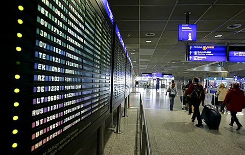 Depature Board at Terminal 1, Airport, Frankfurt, Hesse, Germany