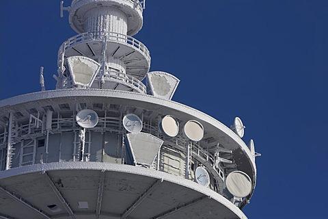 Frozen mast of German telecom, Germany.