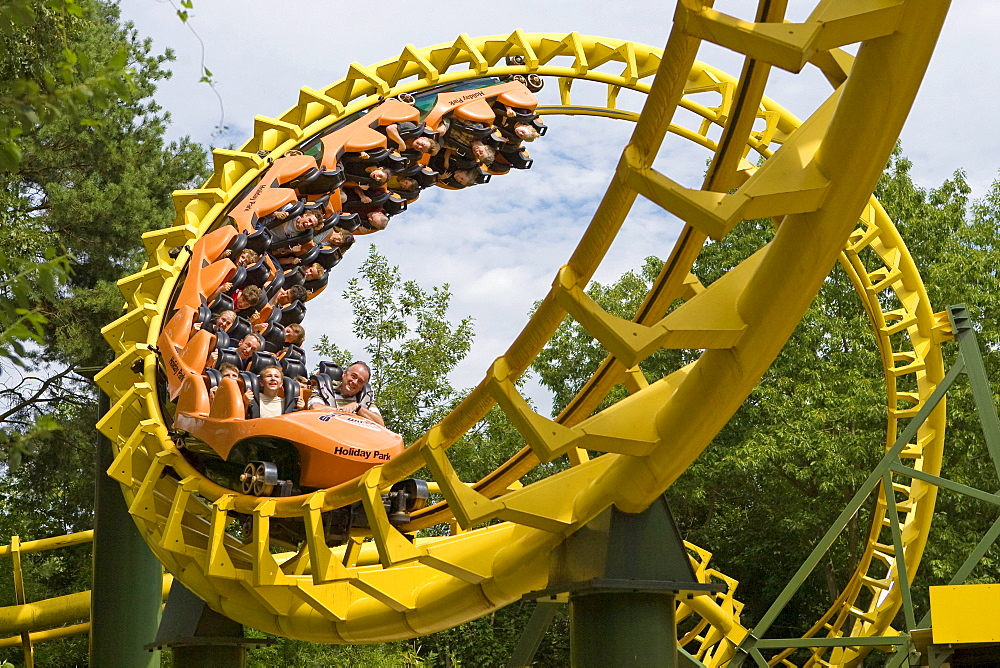 Roller coaster in the Holidaypark, Hassloch, Rhineland-Palatinate, Germany.