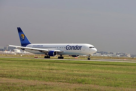 Condor Airbus Boeng 767 itakes off at Frankfurt Airport, Hesse, Germany.
