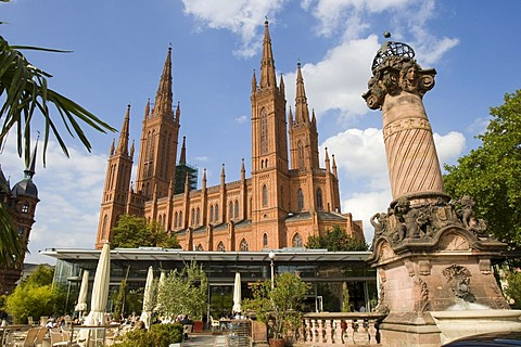 Church in old town, Wiesbaden, Hesse, Germany.