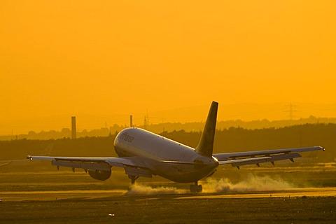 An AEROPLANE starts in the evening light from the Rhein-Main-Airport, Frankfurt, Hessen, Germany.