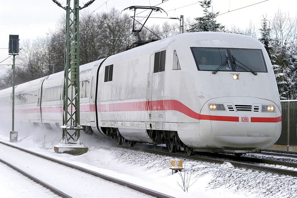 A Train in the snow.