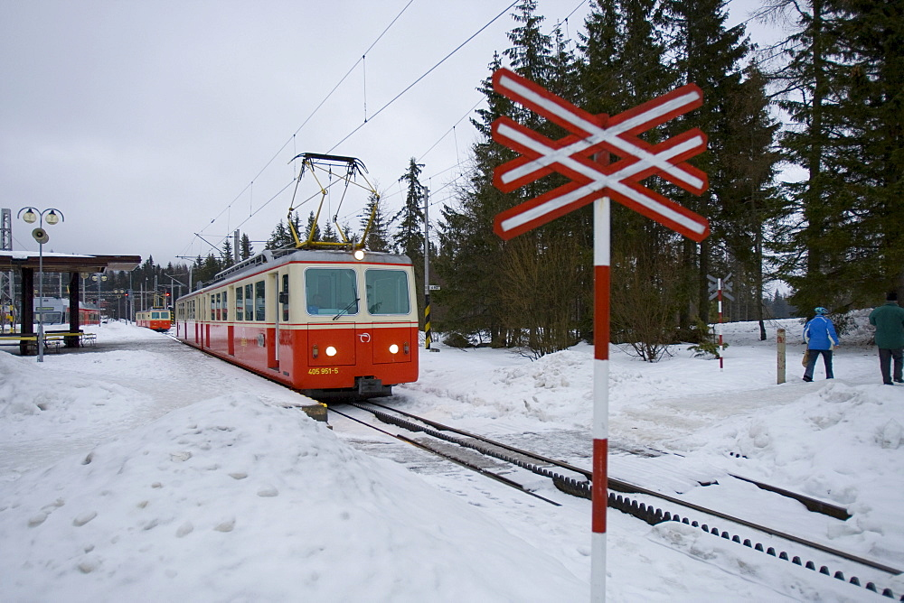 Tatra Electric Railway in the snow, Strbske Pleso, Slovakia, Europe
