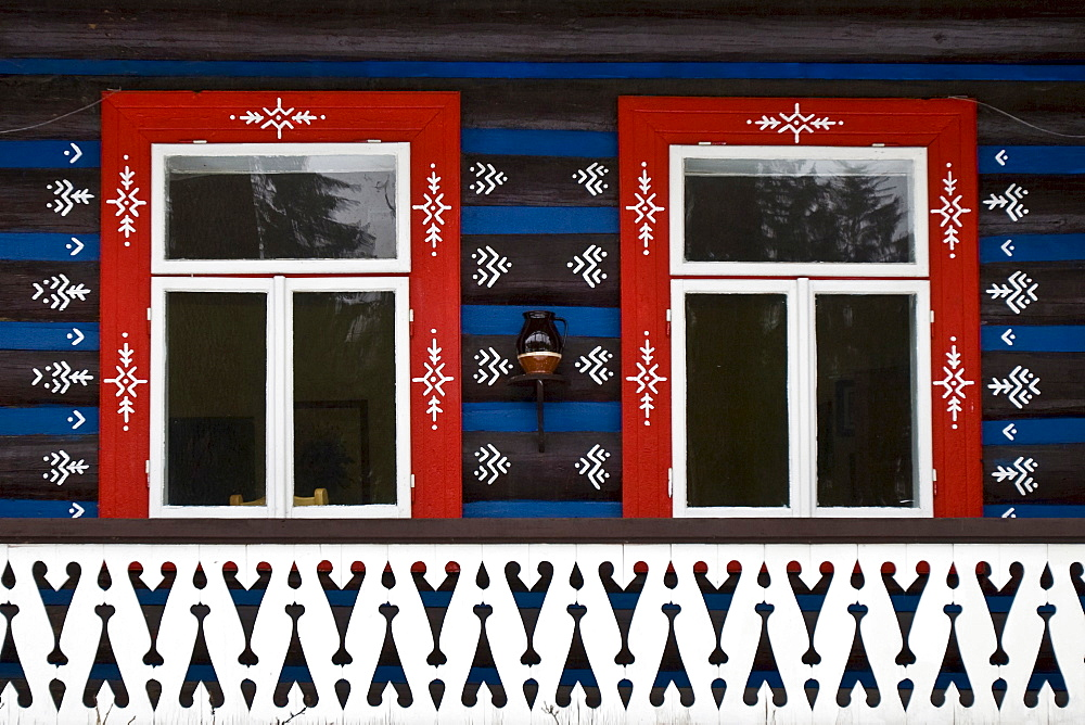 Traditionally painted house in the village of Zdiar, High Tatra Mountains, Slovakia, Europe