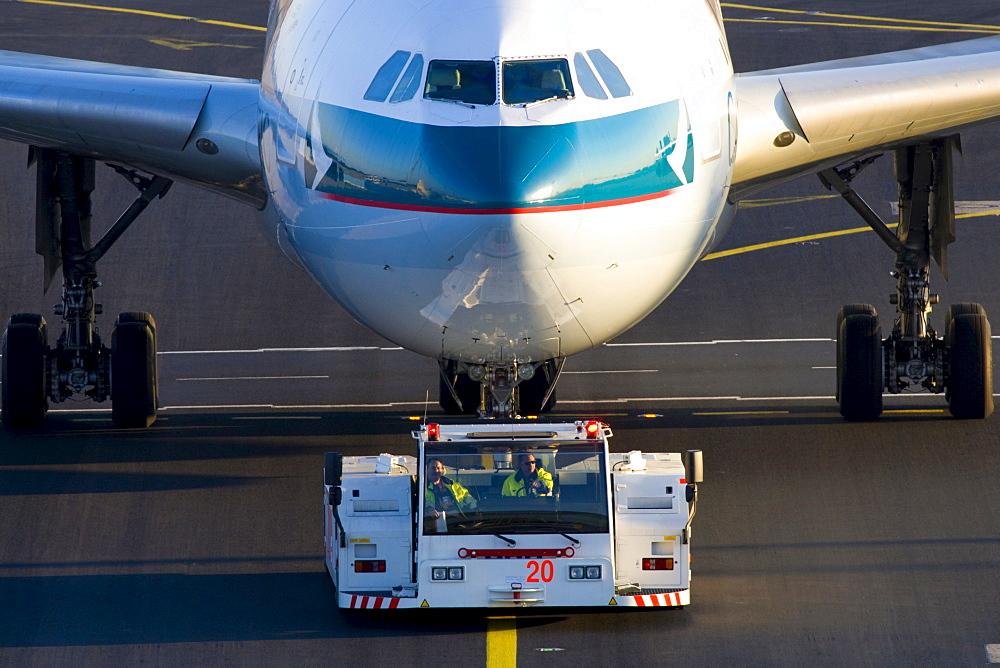 Airbus being taxied at Frankfurt International Airport, Frankfurt, Hesse, Germany, Europe