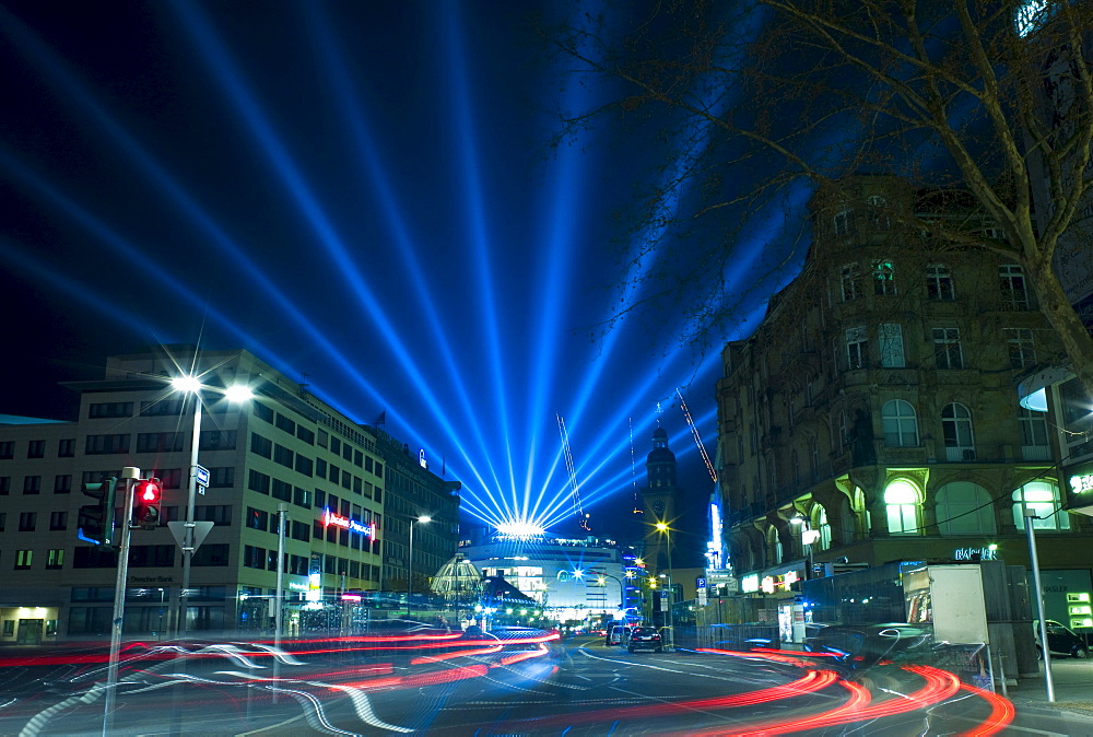 Frankfurt at night, special lighting on the occasion of the Luminale, Biannual Lighting Festival, Frankfurt, Germany