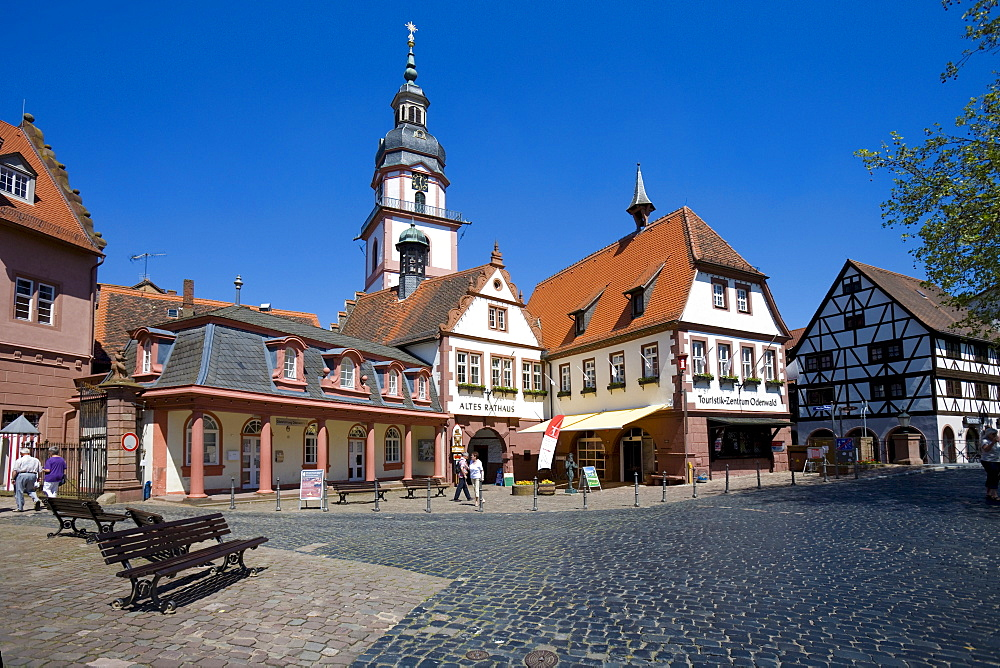 Old city hall, tourism information centre and Protestant parish church, Bergstrasse-Odenwald Natural Park, Erbach, Odenwald Range, Hesse, Germany, Europe