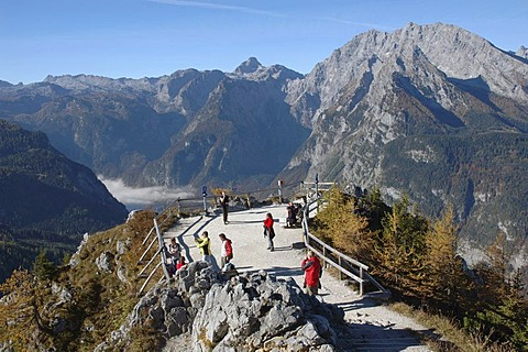The Koenigsee in the national park Berchtesgaden covered by the ground mist seen by the vantage point of the Jenner, Bavaria, Germany