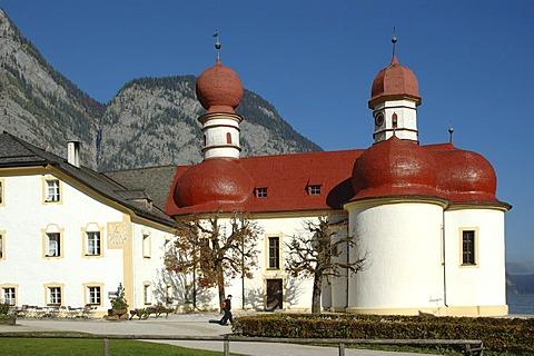 St. Bartholomae at the Koenigsee in the national park Berchtesgaden, Bavaria, Germany