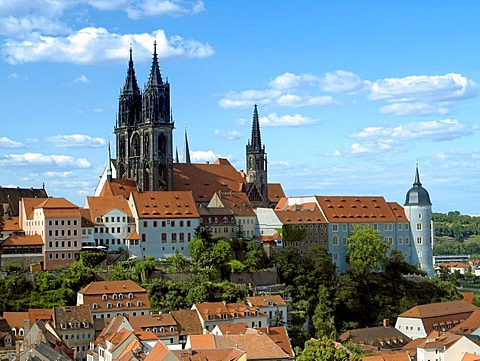 Old town of Meissen with the nightmare on the right castle and the cathedral, Saxony, Germany