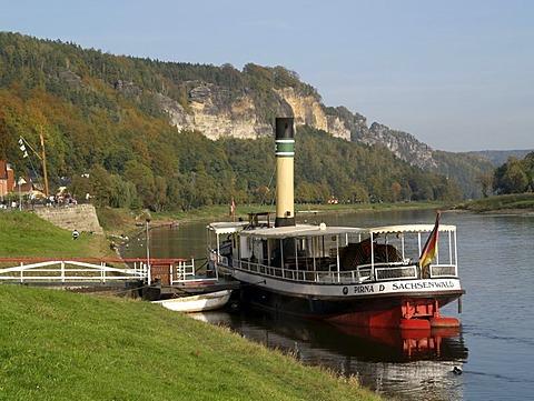 Landscape with Elbe, Wehlen, Saxon Switzerland, Saxony, Germany