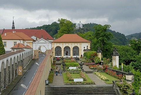 Rose gardens and Castle, Decin, Bohemia, Czech Republic