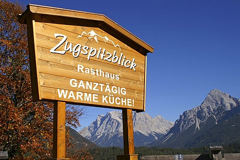 Sign, restaurant with view to Zugspitze, Austria
