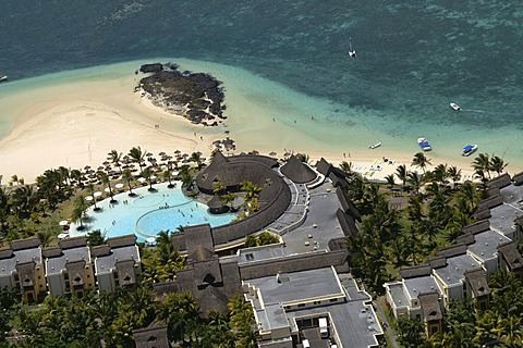 Aerial view, coral reefs, sea and hotel area, Mauritius, Mascarene Islands, Indian Ocean