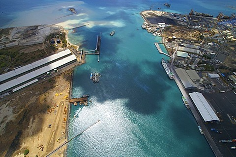 Aerial photo of the coral reef community, port of Port Louis, Mauritius, Africa