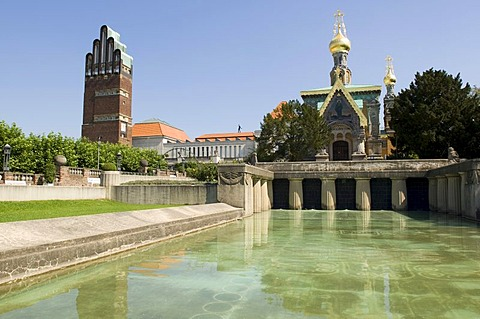 Mathildenhoehe, Russian orthodox church of Mary Magdalene, Darmstadt, Hesse, Germany
