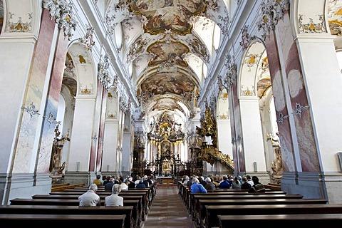 Baronial church, interior view, Amorbach, Hesse, Germany