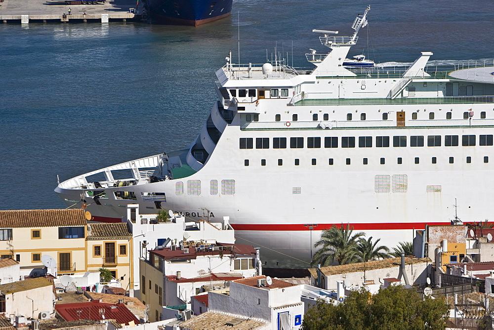 Passenger liner, port, Eivissa, Ibiza, Balearic Islands, Spain