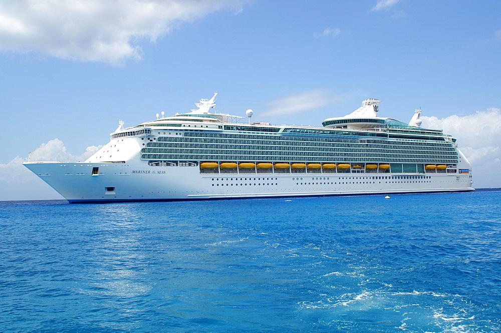 "Passenger ship ""Mariner of the Seas"" at the coast of Cozumel, Yucatan Peninsular, Mexico"