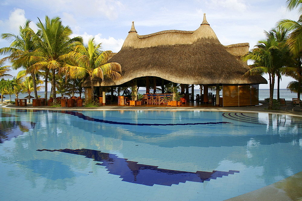Resort with pool at the beach of Trou aux Biches, Mauritius, Mascarenes, Indian Ocean