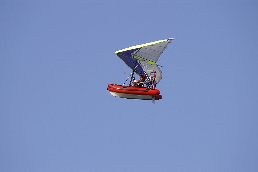 Remote-controlled kite with dinghy, Punta Cana, Dominican Republic, Caribbean, Americas