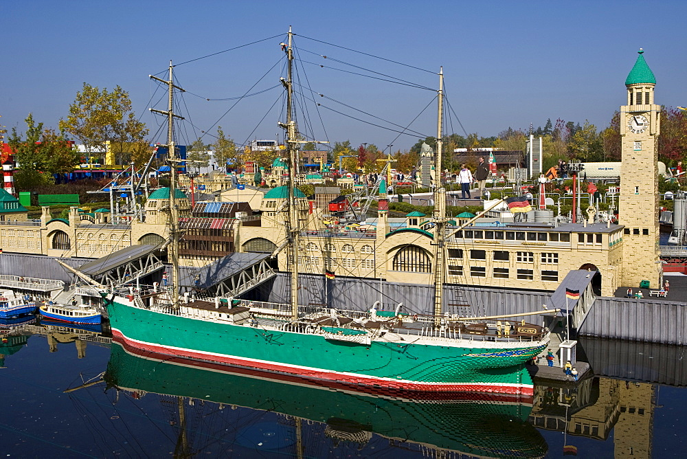 Boat tied in the harbour, Legoland, Guenzburg, Germany, Europe