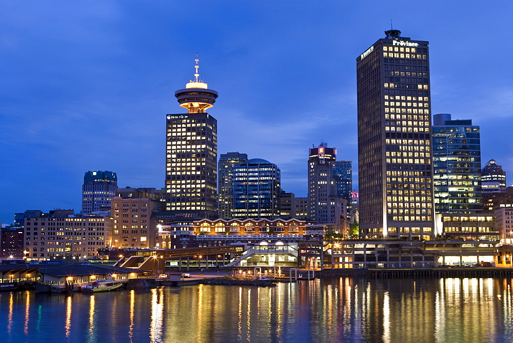 "High rise buildings ""the Province"" and ""Harbour Centre Tower"", Vancouver, British Columbia, Canada, North America"