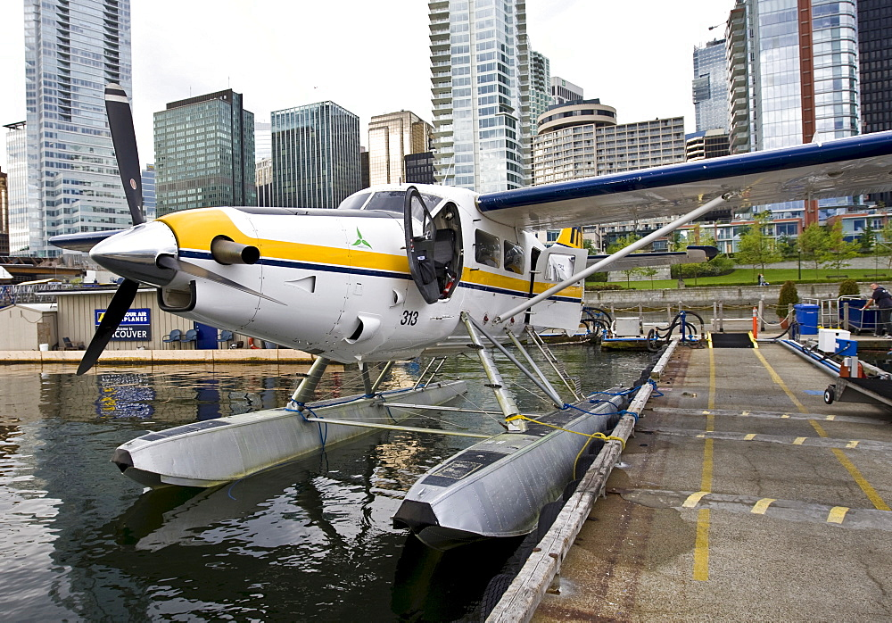 Water plane, Coral Harbour District in the back, Vancouver, British Columbia, Canada, North America