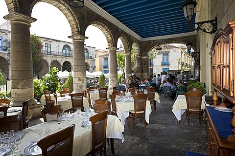 Historic restaurant in the historic city centre of Havana, Cuba, Caribbean