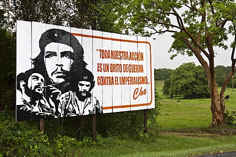 Street sign of Che Guevara, Vinales, Cuba, Caribbean