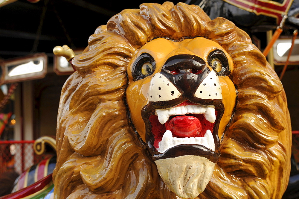 Lion head on a carousel, Erfurt, Thuringia, Germany, Europe