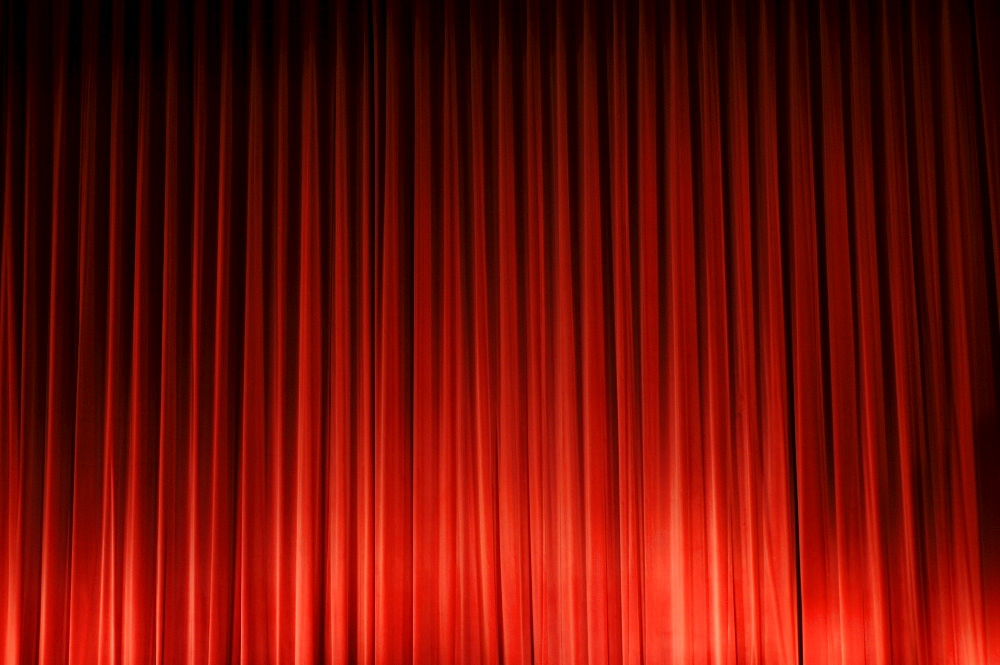 Red curtain in a cinema