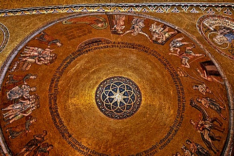 Detail of the ceiling of St. Mark's Basilica or San Marco Basilica, interior shot, Venice, Italy, Europe
