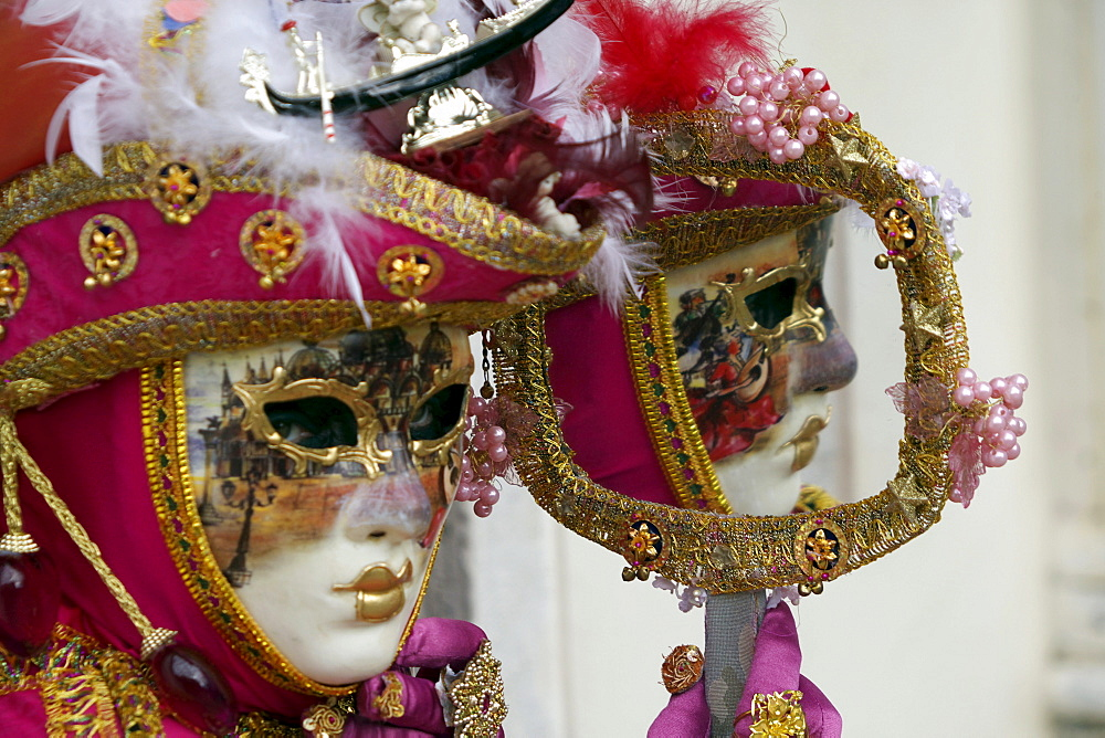 People wearing costumes and masks during Carnival in Venice, Italy, Europe