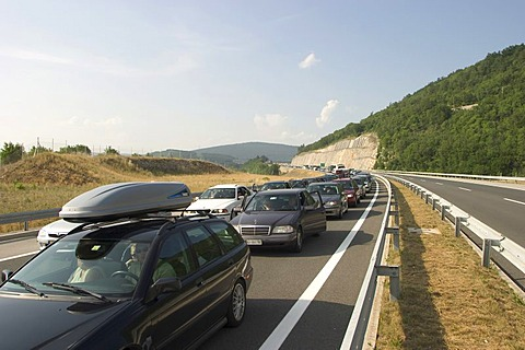 Traffic jam on the motorway in Slovenia