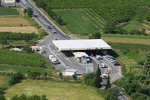 Border station Slovenia - Kroatia at the Adriatic coast