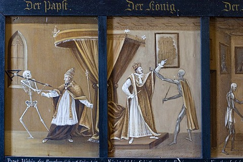 Death dance the Pope the King 1830 from Anton Falger in St Martin chapel Elbigenalp Tyrol Austria