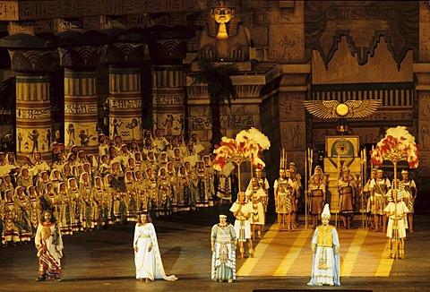 Open air opera Aida in the Roman amphitheatre in Verona Veneto Italy