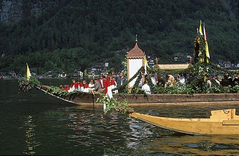 Feast of Corpus Christi lake procession Hallstatt lake Hallstatter See Salzkammergut Austria