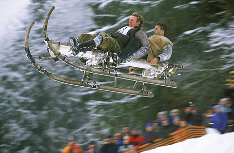 Sledge racing Upper Bavaria Germany