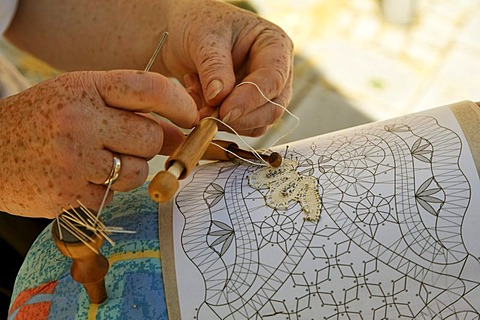 Lace-making in Nabburg , Middle Ages market , Bavaria Germany