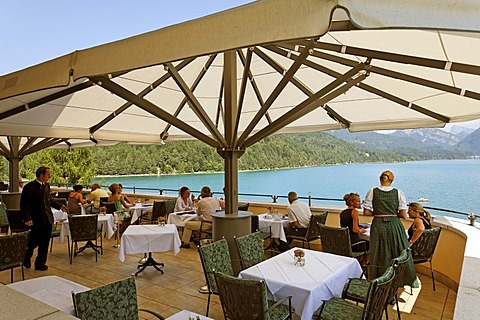 Restaurant Hotel Fuschl castle, Fuschlsee lake, Salzkammergut, Salzburg state, Austria