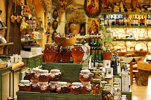 Honey in souvenir shop, Matala, Southern Crete, Greece